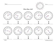 What Time is It?  Telling Time To Five Minutes Worksheet