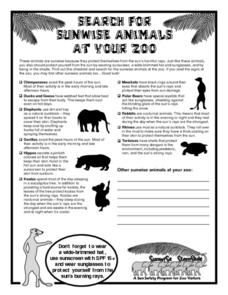 Sunwise Animals at Your Zoo Worksheet