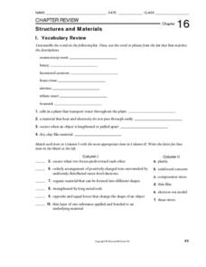 Structures and Materials Worksheet