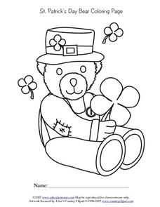 St. Patrick's Day Bear Coloring Page Lesson Plan for 1st