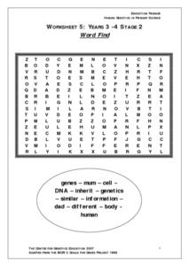 Human Genetics Word Find Worksheet