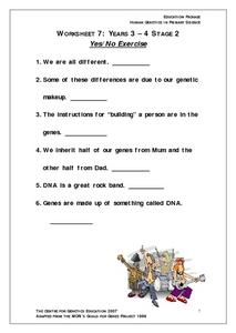Human Genetics: Yes/No Exercise Worksheet