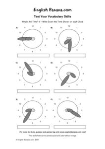 Test Your Vocabulary Skills: What's the Time? 5 Worksheet