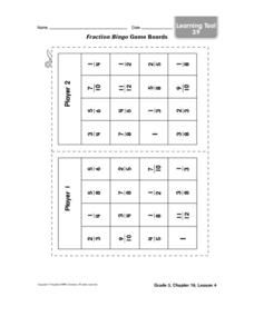 Fraction Bingo Game Boards Worksheet