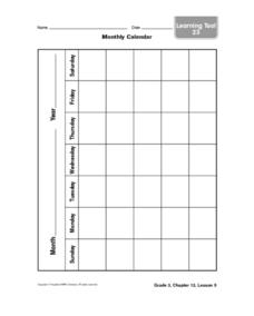 Monthly Calendar Worksheet