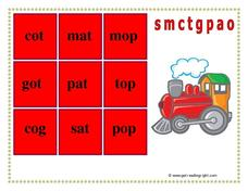 Phonic Noughts and Crosses: s, m, c, t, g, p, a, o Worksheet