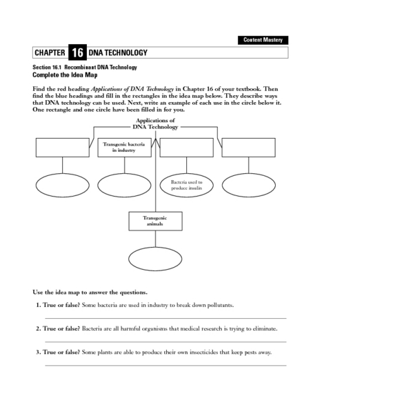 Recombinant DNA Technology 9th Higher Ed Worksheet – Recombinant Dna Worksheet