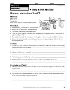 "How Can You Make a ""fossil""? Worksheet"
