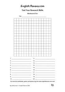 Wordsearch Fun Blank Grid Lesson Plan