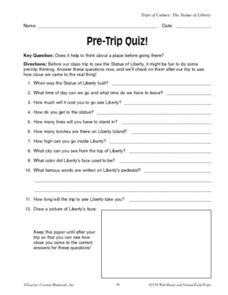 Pre Trip Quiz-- the Statue of Liberty Worksheet