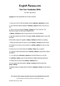 Fun With -ing Verbs 3- Test Your Vocabulary Skills Worksheet