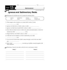 Igneous and Sedimentary Rocks Worksheet