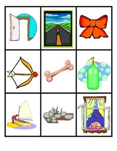 Picture And Word Cards-- Long Vowel O-- Full Color Worksheet