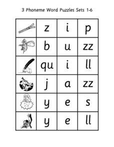 3 Phoneme Word Puzzles Sets 1-6 Worksheet