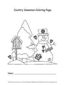 Country Snowman Coloring Page Lesson Plan