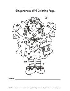 Gingerbread Girl Coloring Page Lesson Plan