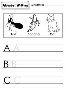 Alphabet Writing; A, B, C Worksheet