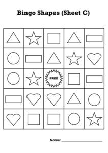 Bingo Shapes: Sheet C Worksheet