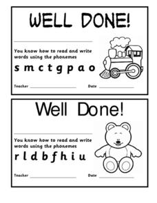 Well Done Certificates for Phonemes Worksheet