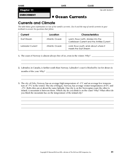 Currents And Climate Worksheet For 5th 8th Grade