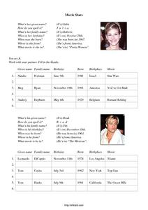 Movie Stars (ELD Lesson) Worksheet