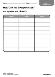 How Can You Group Matter? Worksheet