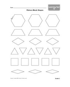 Pattern Block Shapes-- Black Line Copy Worksheet