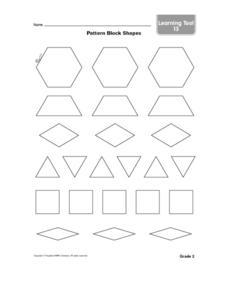 Pattern Block Shapes-- Black Line Copy Worksheet for 1st