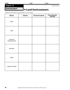 Land Environments Worksheet