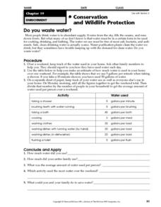 Do You Waste Water? Worksheet