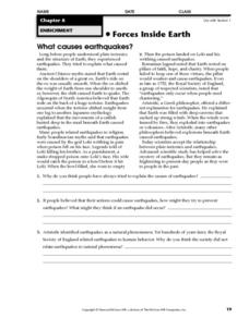 What Causes Earthquakes? Worksheet