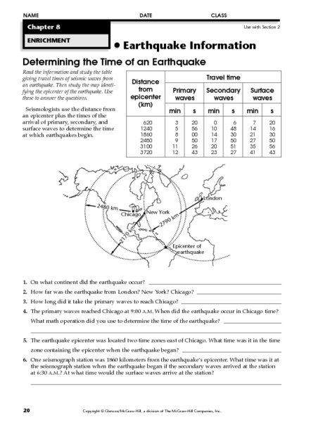 determining the time of an earthquake worksheet for 6th