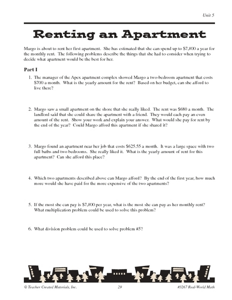 Renting an Apartment-- Math Word Problems Worksheet for 5th