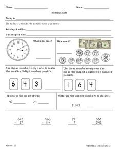 Morning Math 3 Worksheet