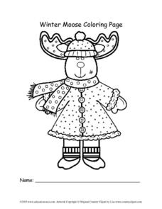 Winter Moose Coloring Page Lesson Plan
