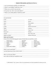 Students Information And Interest Survey Worksheet