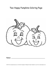 Two Happy Pumpkins Coloring Page Worksheet