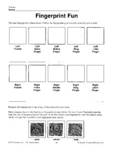Fingerprint Fun 4th - 5th Grade Worksheet | Lesson Planet