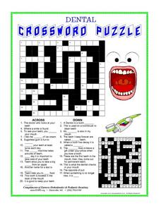 Dental Crossword Worksheet