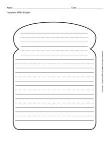 Primary Writing Lines in Bread Shape Outline Worksheet