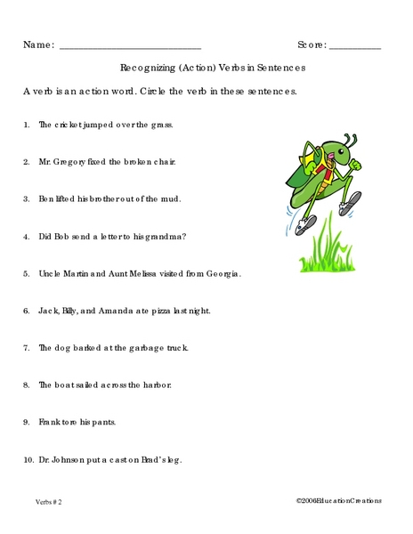 Recognizing (action) Verbs in Sentences Worksheet for 2nd - 3rd Grade |  Lesson Planet