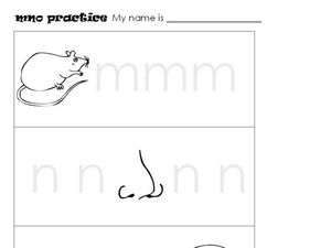 m, n, o Practice Worksheet