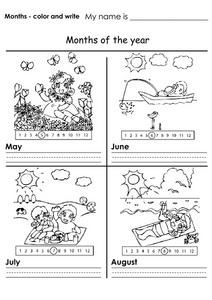 Months Color And Write--May, June, July , August Worksheet