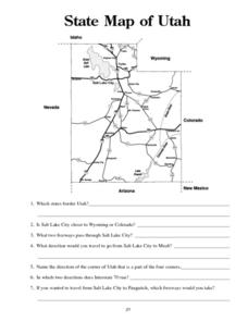 State Map of Utah Worksheet