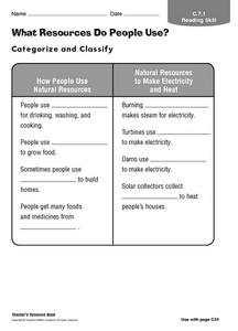 What Resources Do People Use? Worksheet