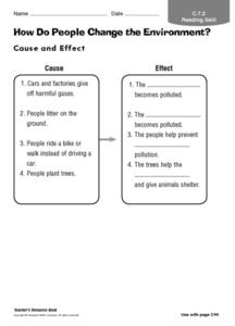 How Do People Change the Environment? Worksheet