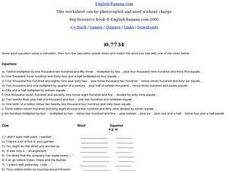 Calculator Clues Worksheet