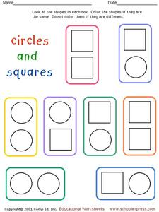 Circles and Squares Worksheet