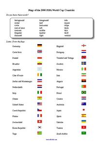Flags of the 2006 FIFA World Cup Worksheet