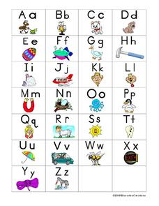 Full Color Picture Alphabet Cards Worksheet